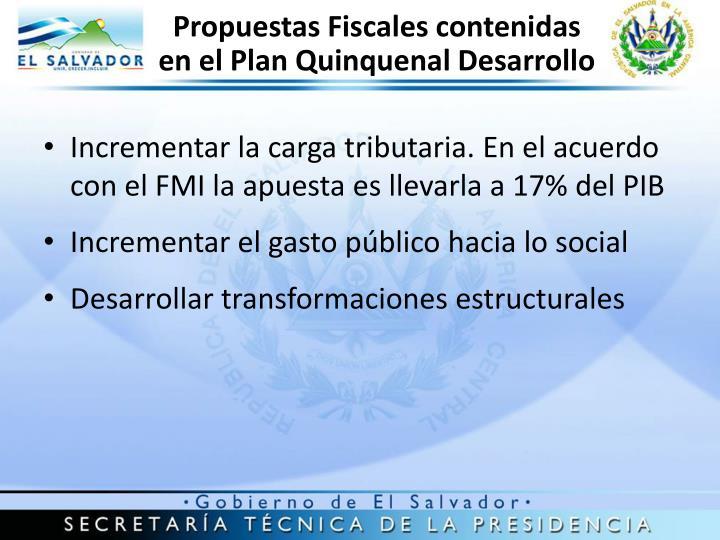 Propuestas Fiscales contenidas en el Plan Quinquenal Desarrollo