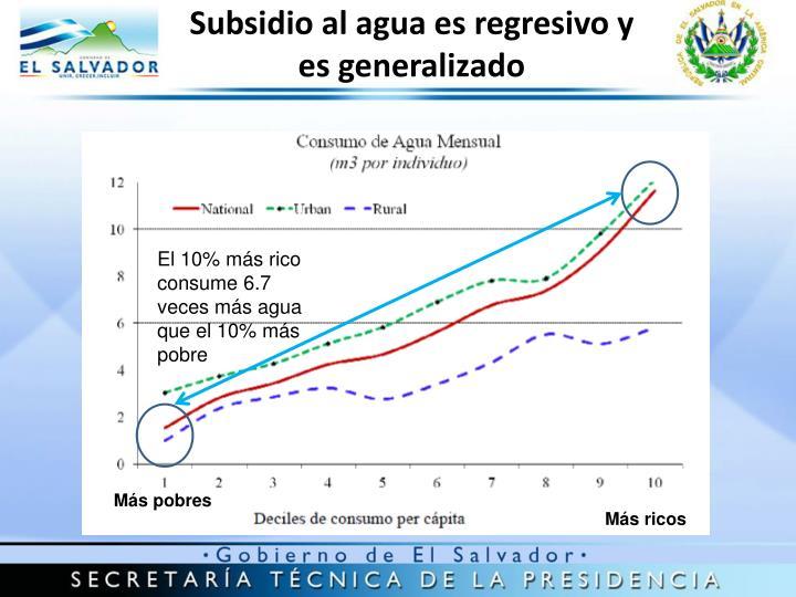 Subsidio al agua es regresivo y es generalizado