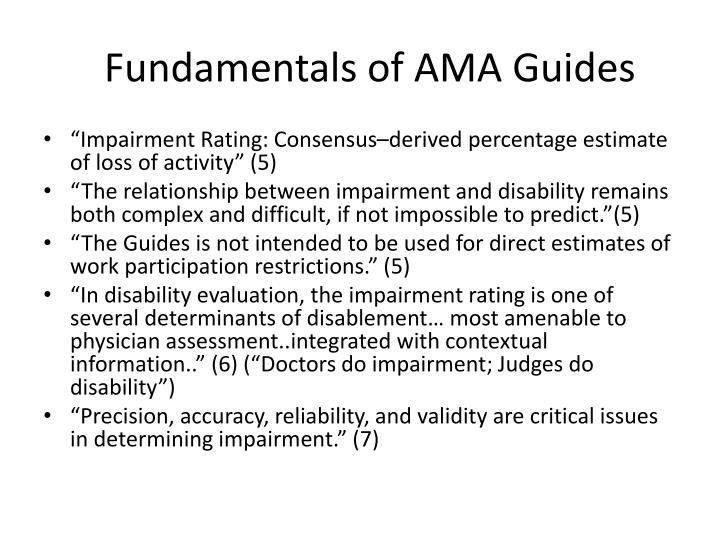 Fundamentals of AMA Guides
