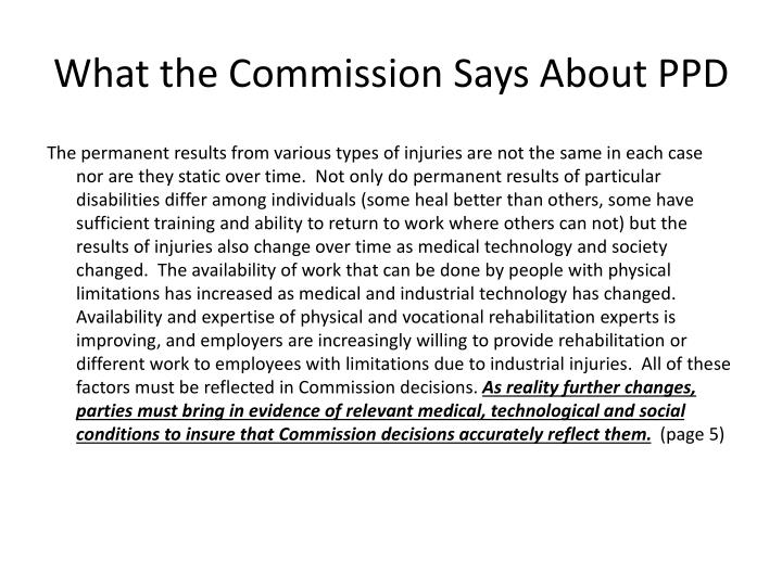 What the Commission Says About PPD