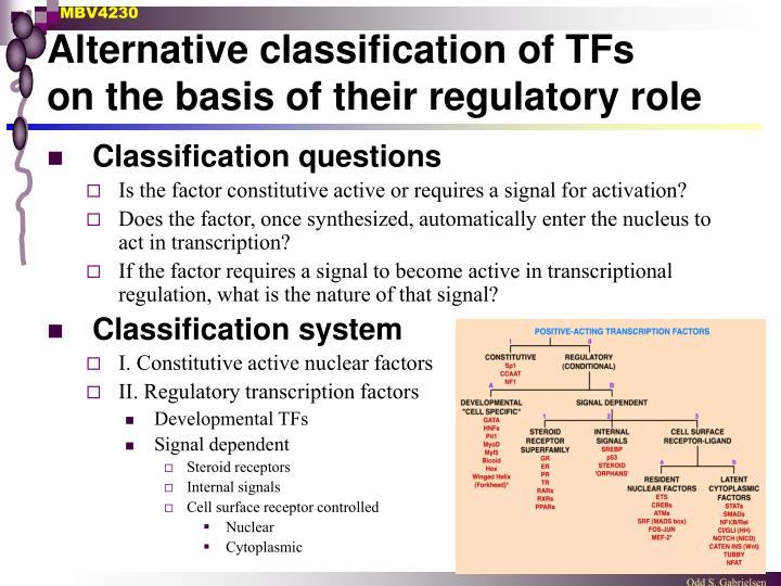 Alternative classification of TFs