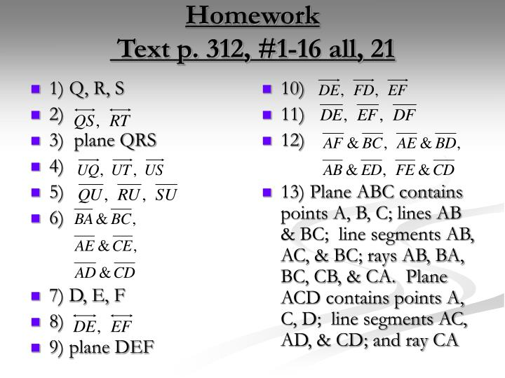 Homework text p 312 1 16 all 21