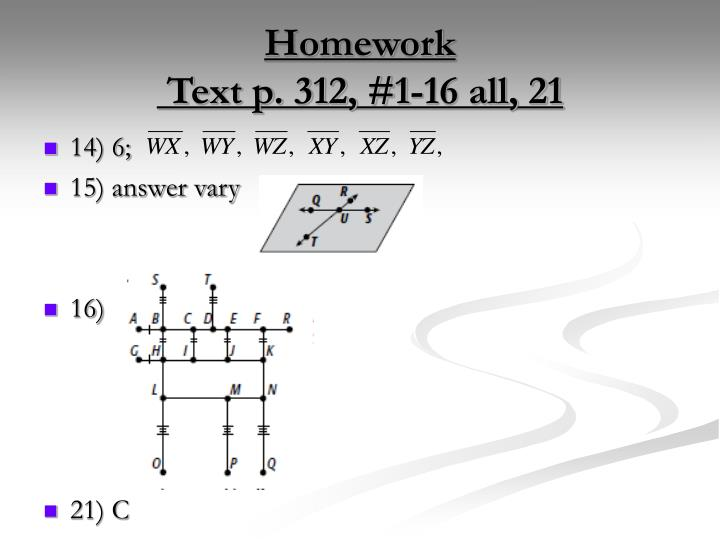 Homework text p 312 1 16 all 211