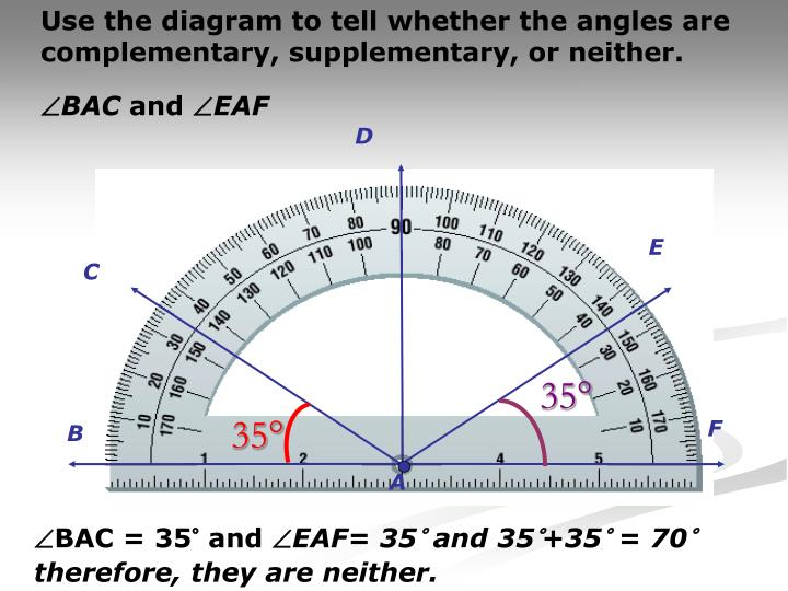 Use the diagram to tell whether the angles are complementary, supplementary, or neither.