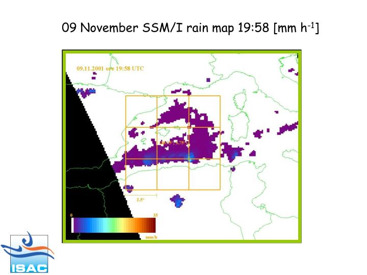 09 November SSM/I rain map 19:58 [mm h