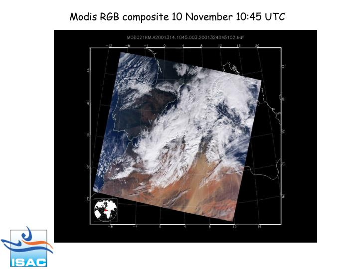 Modis RGB composite 10 November 10:45 UTC