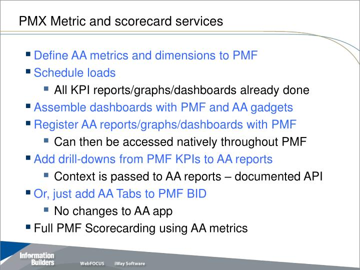 PMX Metric and scorecard services