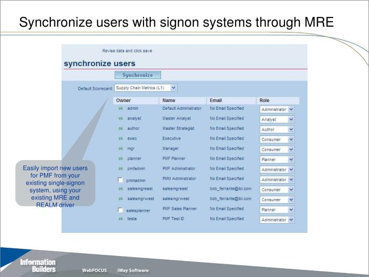Synchronize users with signon systems through MRE