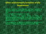 other achievements activities of the department1