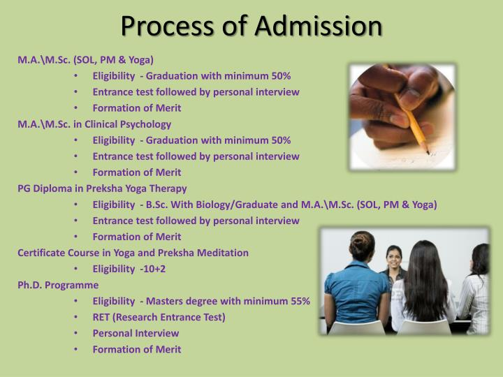 Process of Admission