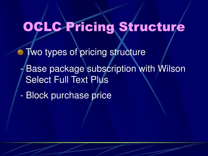 OCLC Pricing Structure