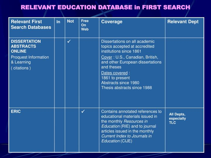 RELEVANT EDUCATION DATABASE in FIRST SEARCH