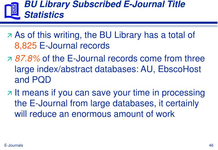 BU Library Subscribed E-Journal Title Statistics