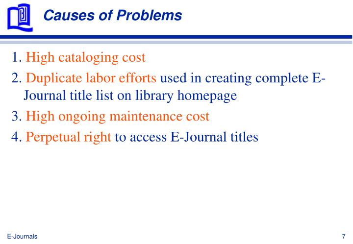 Causes of Problems