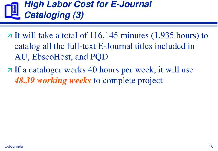 High Labor Cost for E-Journal Cataloging (3)