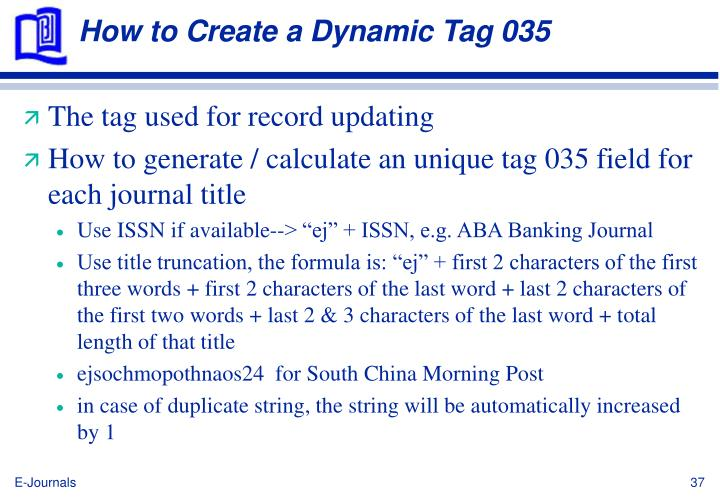How to Create a Dynamic Tag 035