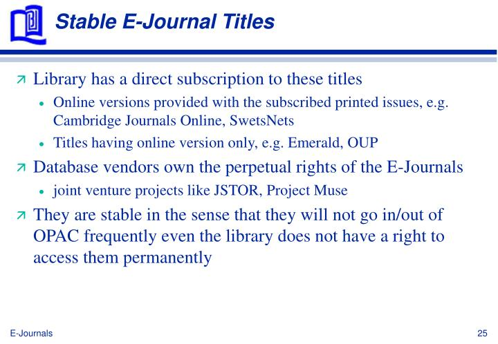 Stable E-Journal Titles