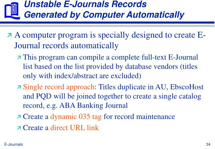 Unstable E-Journals Records Generated by Computer Automatically
