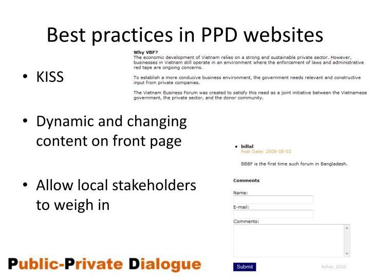 Best practices in PPD websites