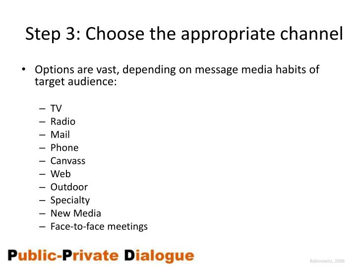 Step 3: Choose the appropriate channel