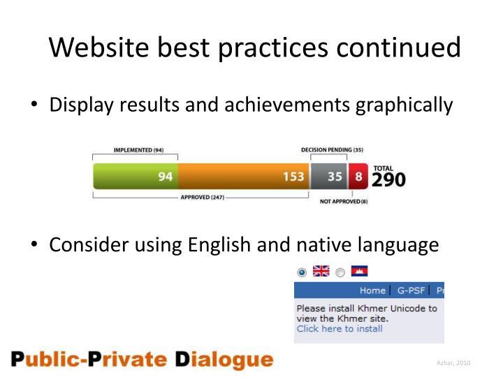 Website best practices continued