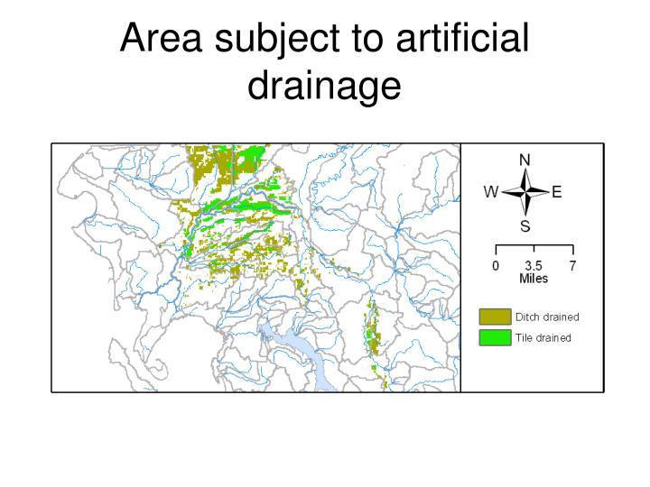 Area subject to artificial drainage