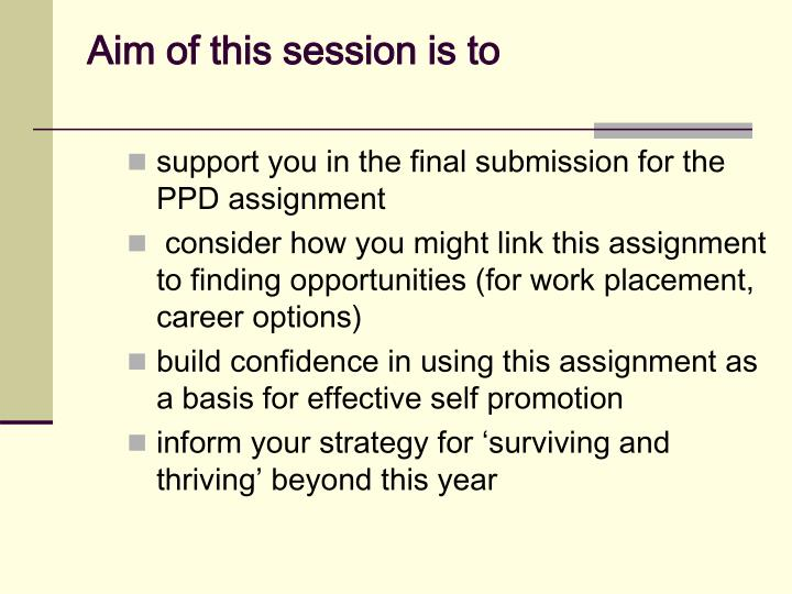 support you in the final submission for the PPD assignment
