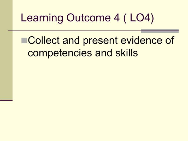 Learning Outcome 4 ( LO4)