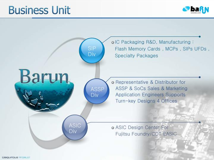 IC Packaging R&D, Manufacturing :