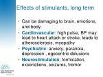 effects of stimulants long term