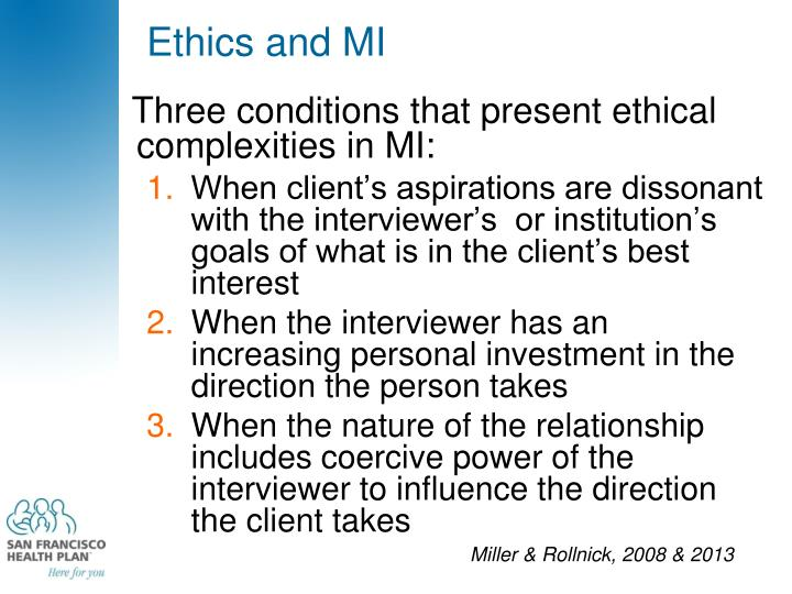 Ethics and MI
