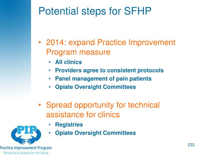 Potential steps for SFHP