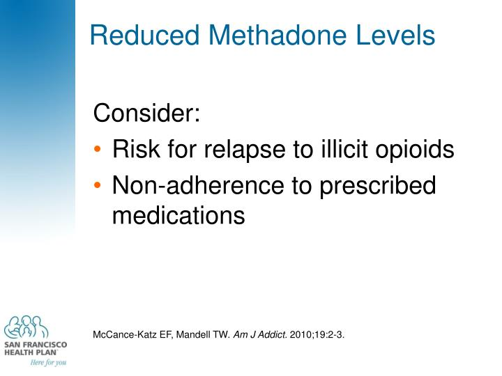Reduced Methadone Levels
