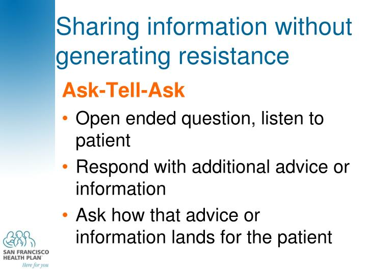 Sharing information without generating resistance
