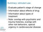 summary stimulant use