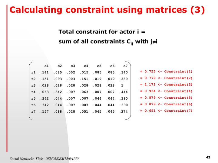 Calculating constraint using matrices (3)