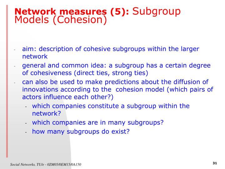 Network measures (5):