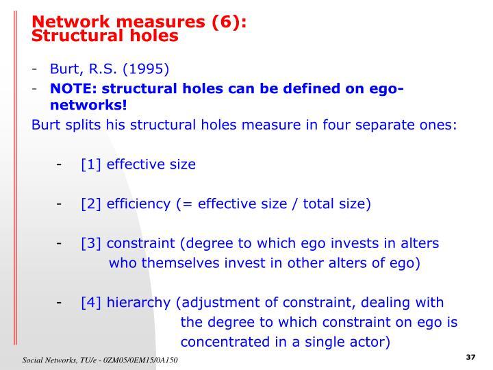 Network measures (6):