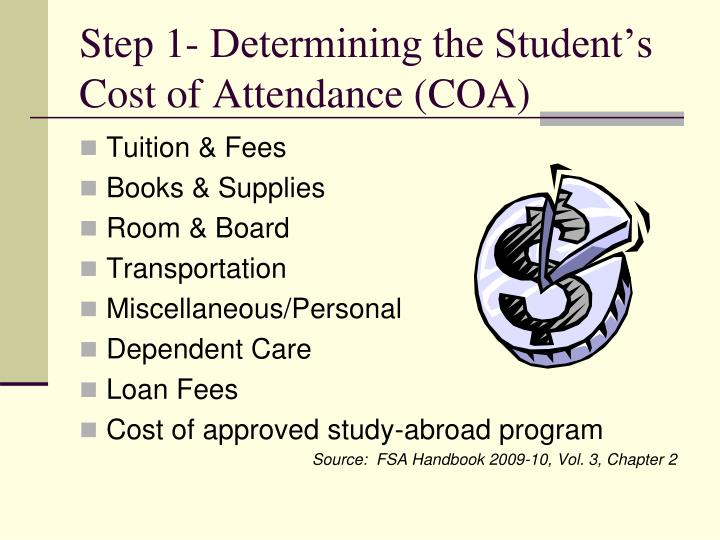 Step 1- Determining the Student's Cost of Attendance (COA)