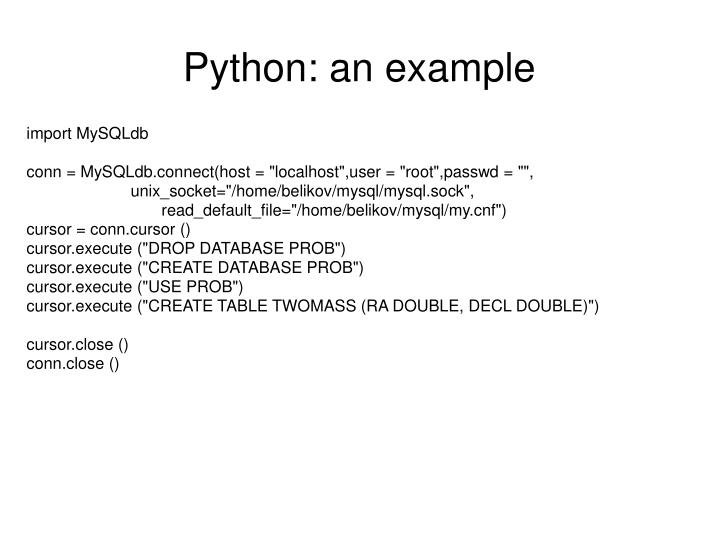 Python: an example