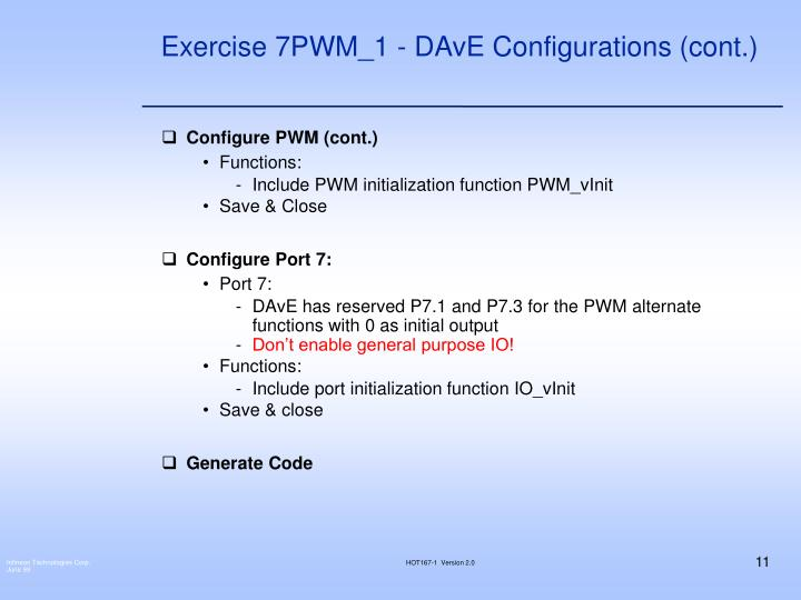 Exercise 7PWM_1 - DAvE Configurations (cont.)