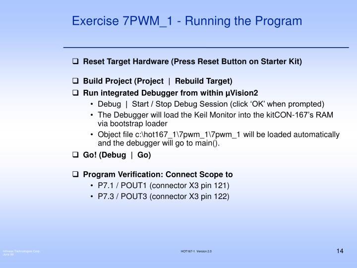 Exercise 7PWM_1 - Running the Program