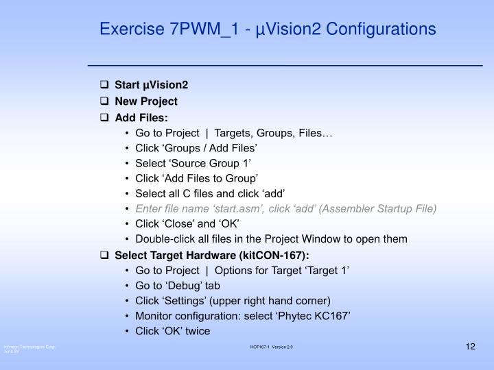 Exercise 7PWM_1 - µVision2 Configurations