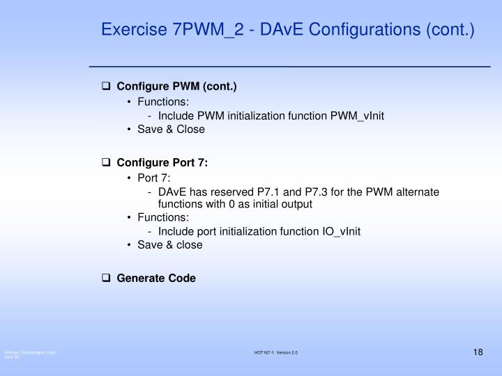 Exercise 7PWM_2 - DAvE Configurations (cont.)