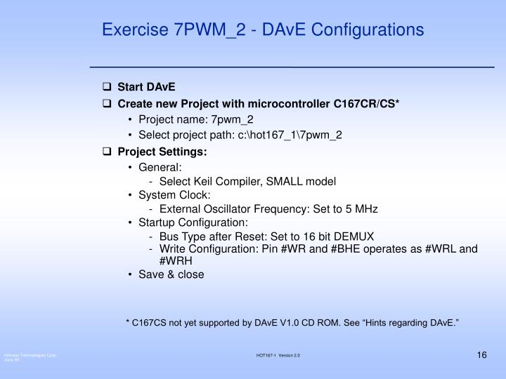 Exercise 7PWM_2 - DAvE Configurations