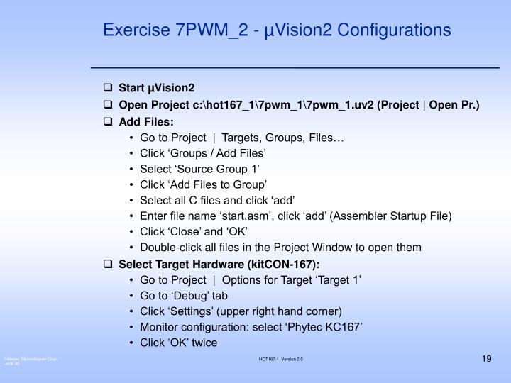 Exercise 7PWM_2 - µVision2 Configurations