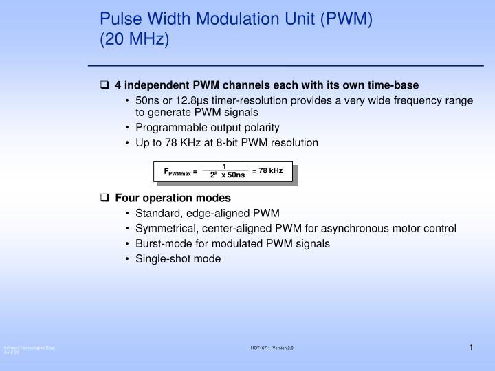 pulse width modulation unit pwm 20 mhz