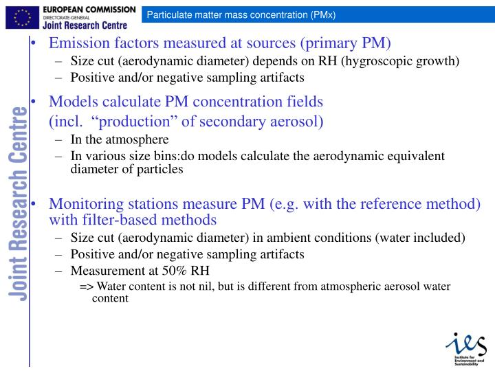 Emission factors measured at sources (primary PM)