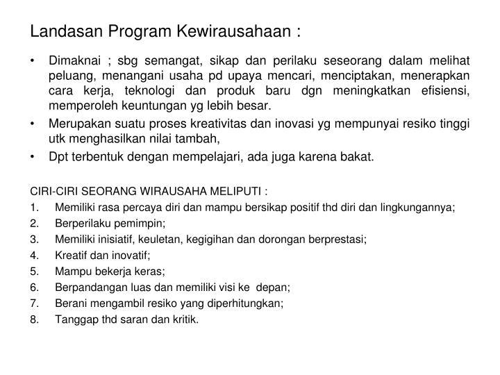 Landasan Program Kewirausahaan :