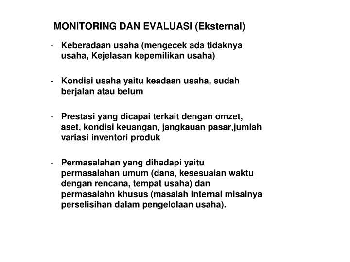 MONITORING DAN EVALUASI (Eksternal)